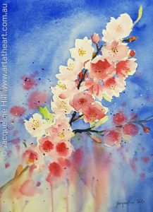 Watercolour Cherry Blossoms by Jacqueline Hill